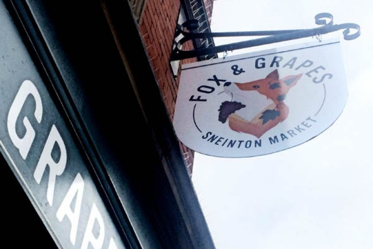 Fox and Grapes pub signage design photo